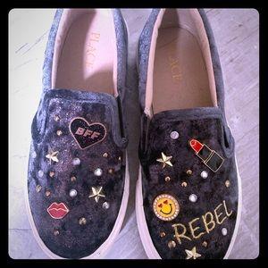 Rebel velvet children's slip on shoes